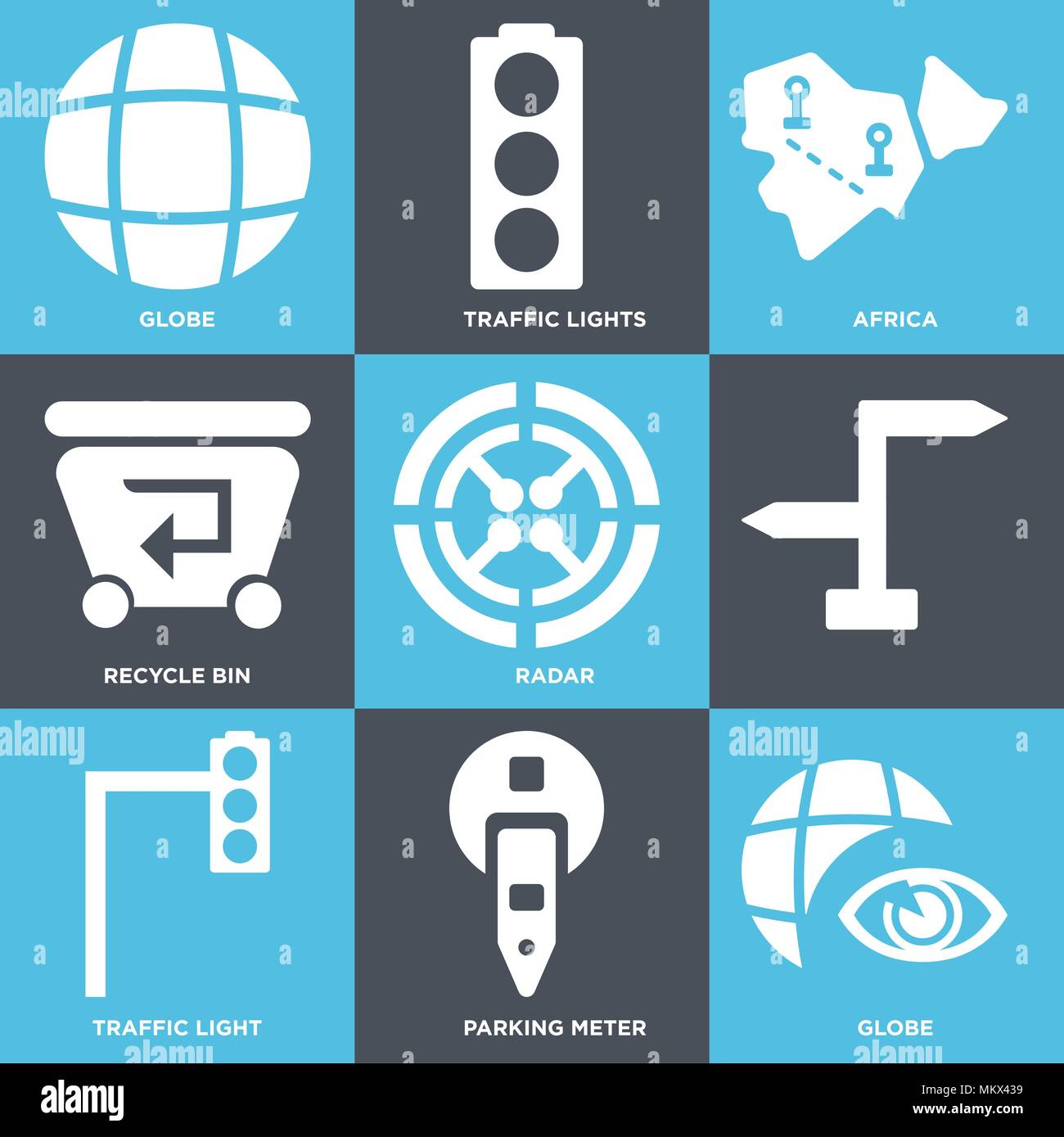 Set Of 9 simple editable icons such as Globe, Parking meter, Traffic light, Radar, Recycle bin, Africa, lights, can be used for mobile, web Stock Vector