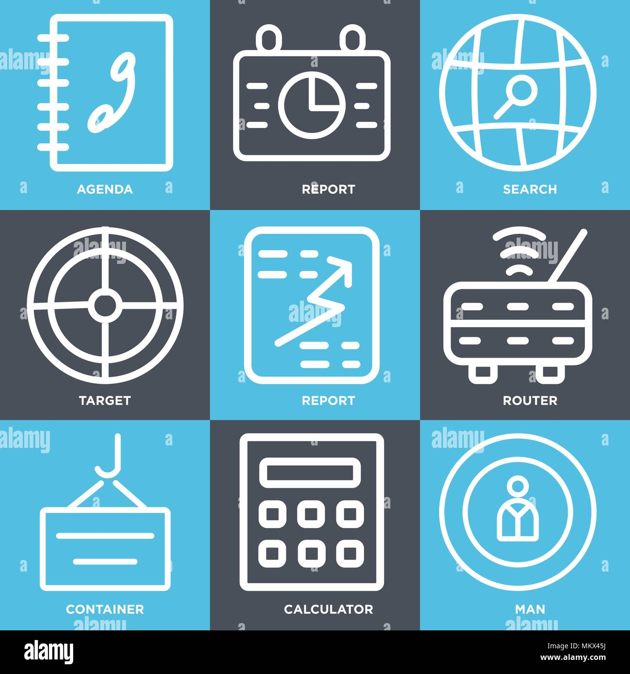 Set Of 9 simple editable icons such as Man, Calculator, Container, Router, Report, Target, Search, Agenda, can be used for mobile, web Stock Vector