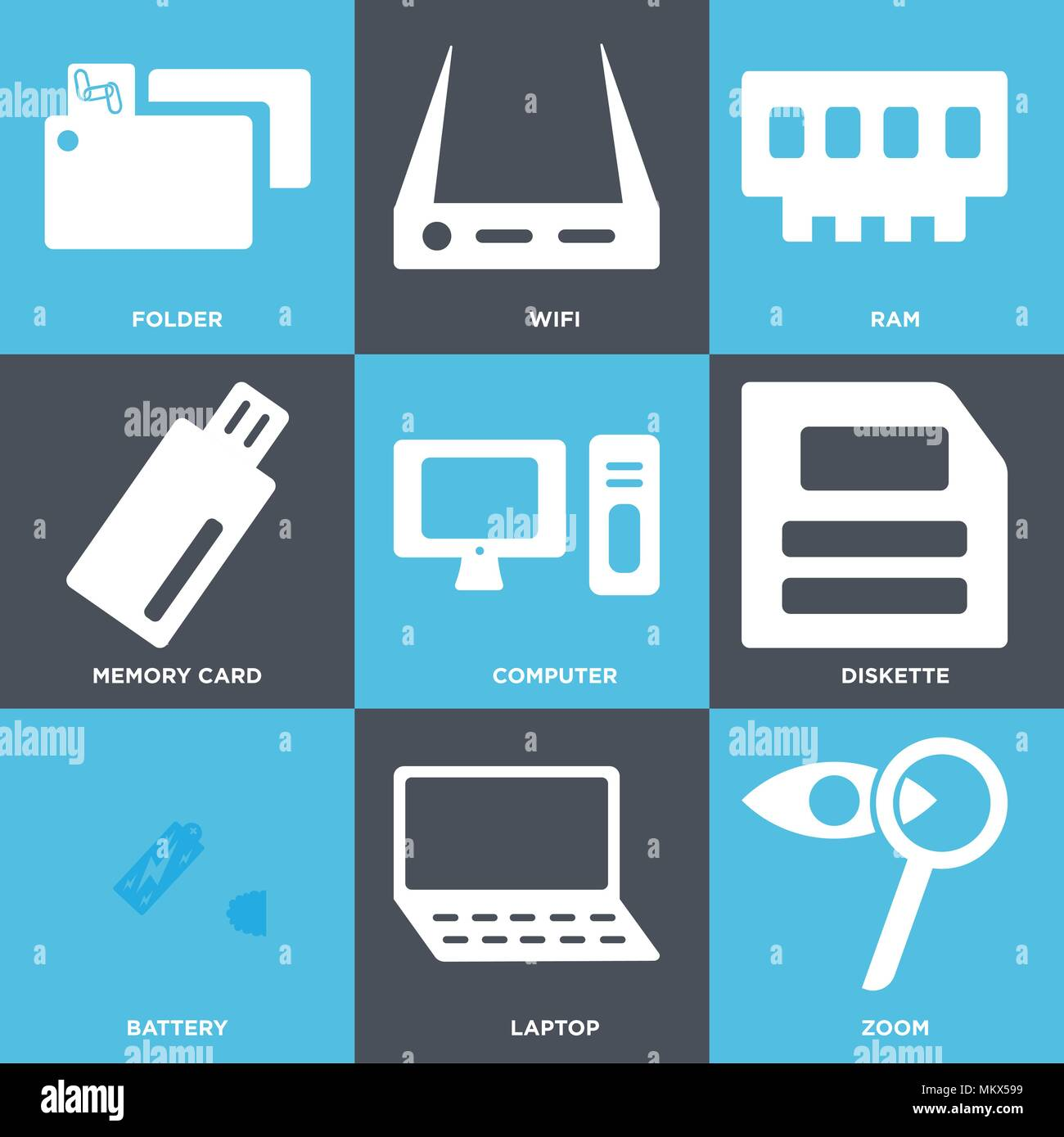 Set Of 9 simple editable icons such as Zoom, Laptop, Battery, Diskette, Computer, Memory card, Ram, Wifi, Folder, can be used for mobile, web - Stock Image