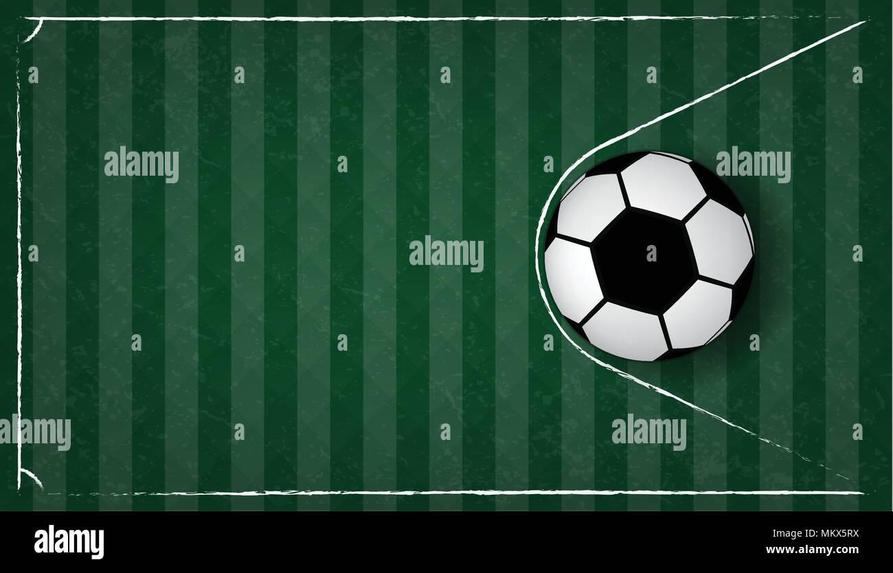 soccer ball in net on green gress background football design