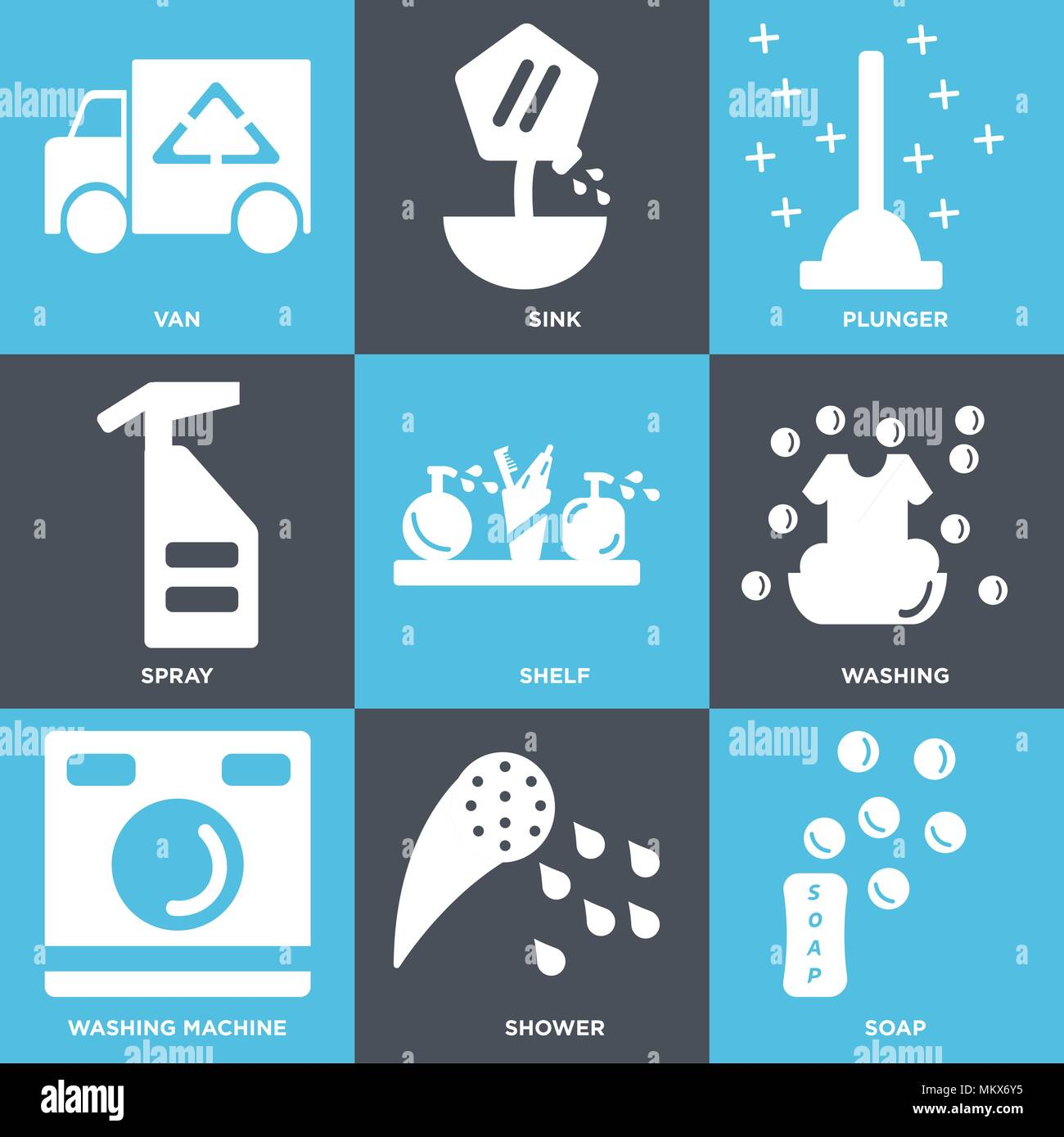 Set Of 9 simple editable icons such as Soap, Shower, Washing machine ...