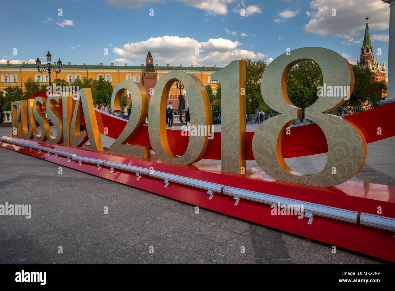 The inscription 'Russia 2018' installed before start of FIFA World Cup on the Manege Square in Moscow, Russia - Stock Image