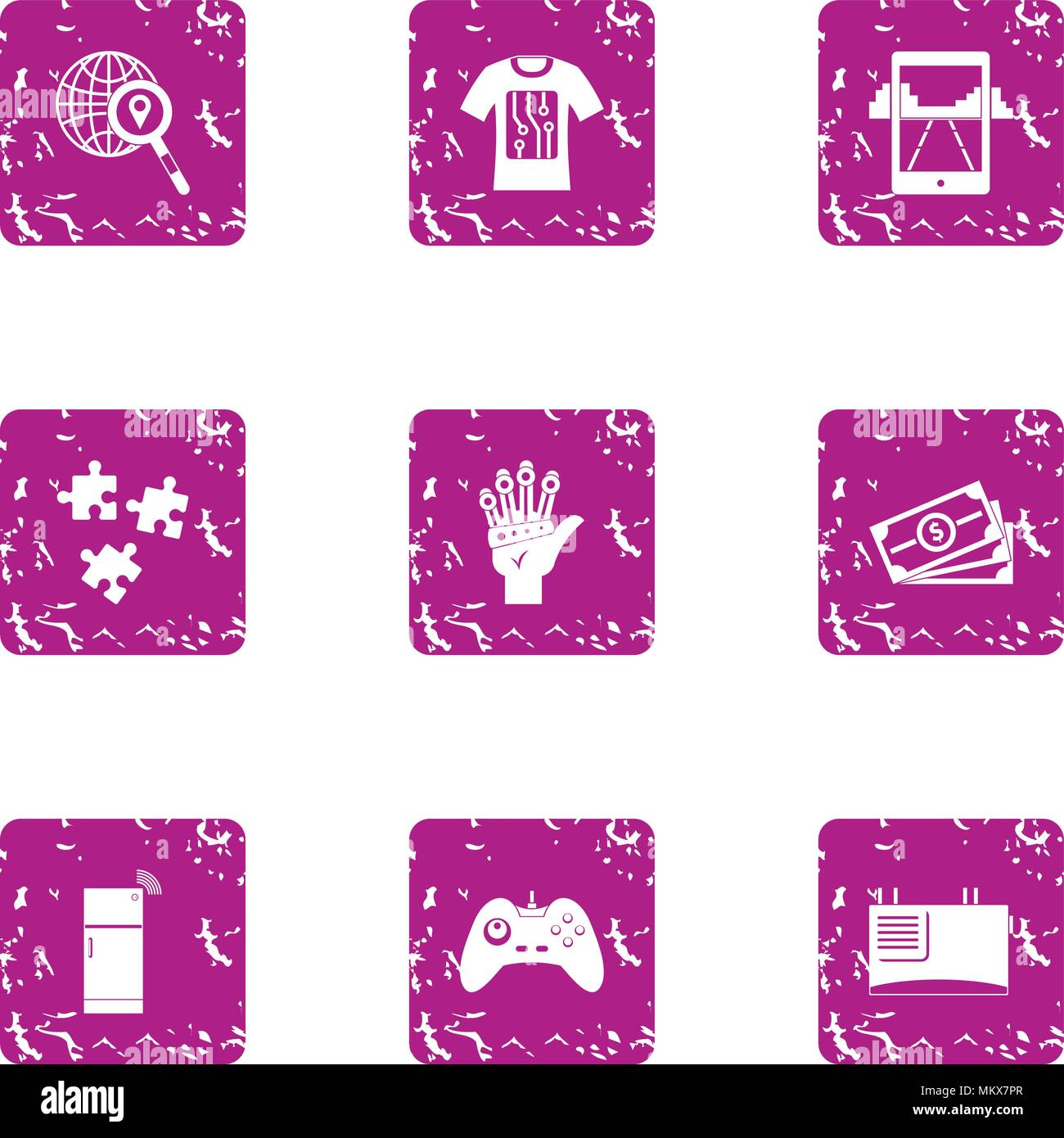 Game convention icons set, grunge style - Stock Image
