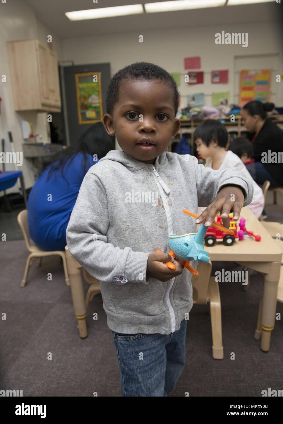 Lower East Side multi ethnic nursery school in the Chinatown neighborhood of Manhattan. Stock Photo