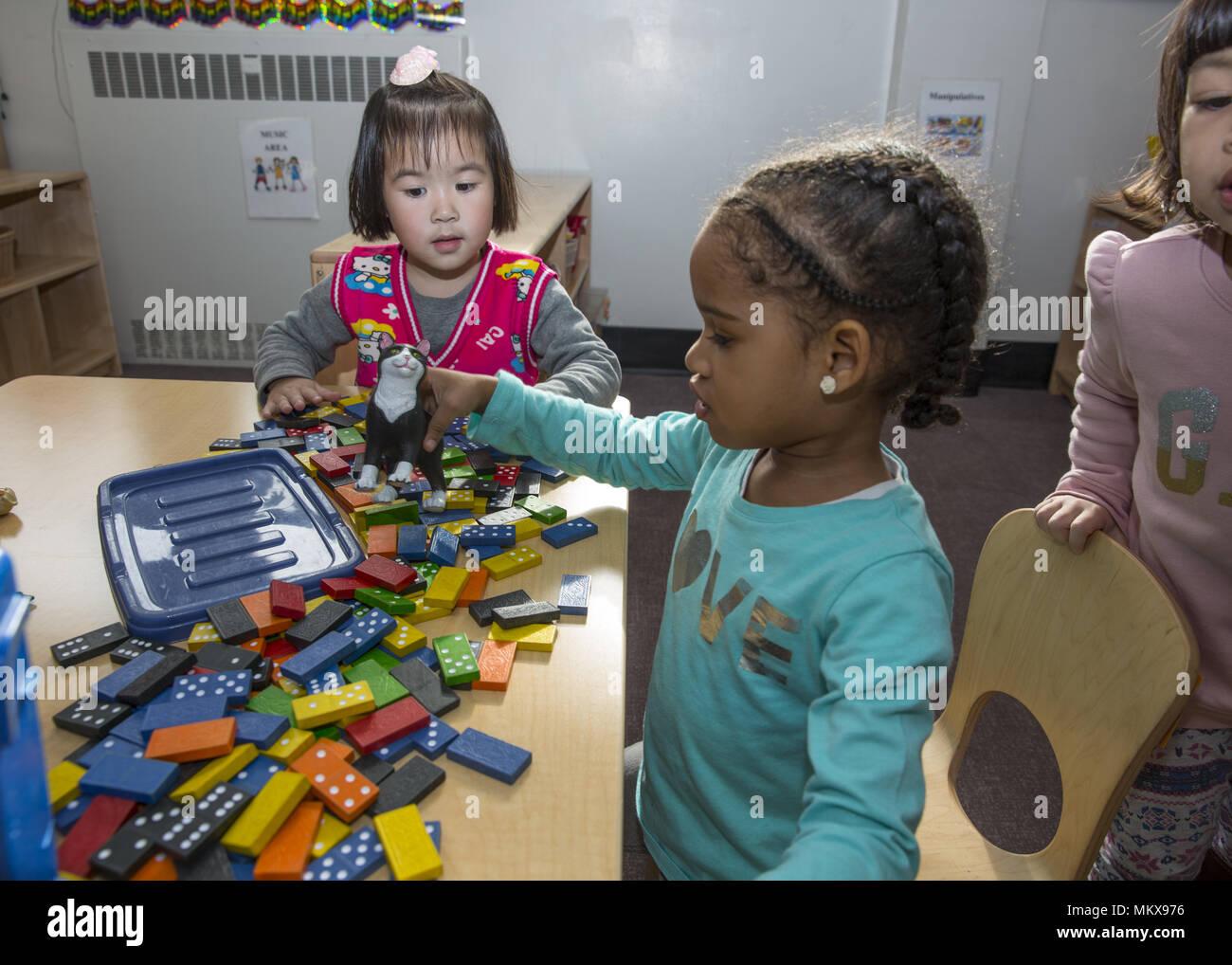 Lower East Side multi ethnic nursery school in Manhattan, New York City. Stock Photo