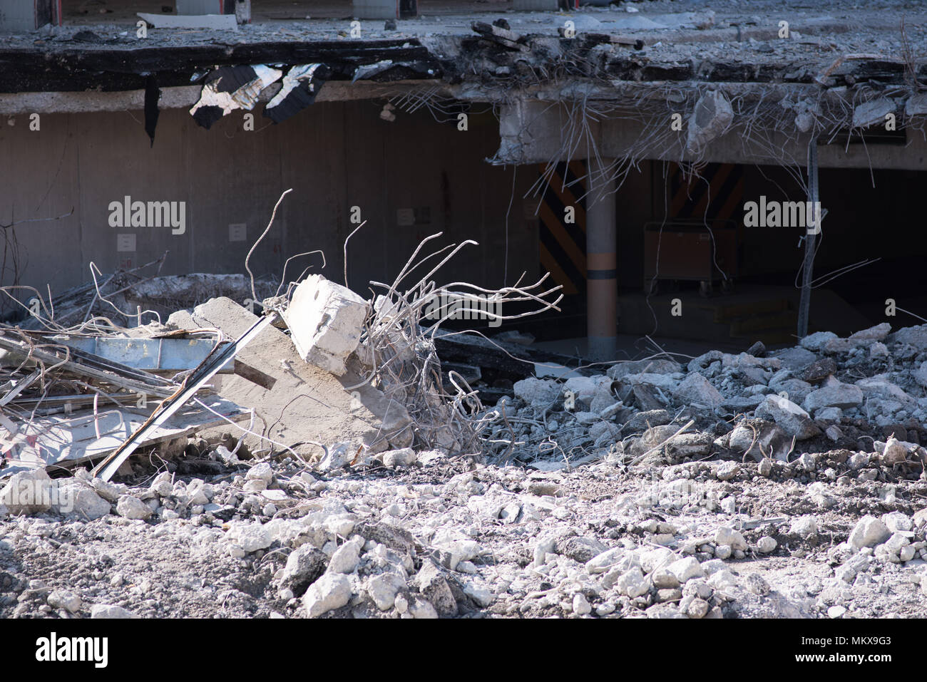 demolition of a building - Stock Image