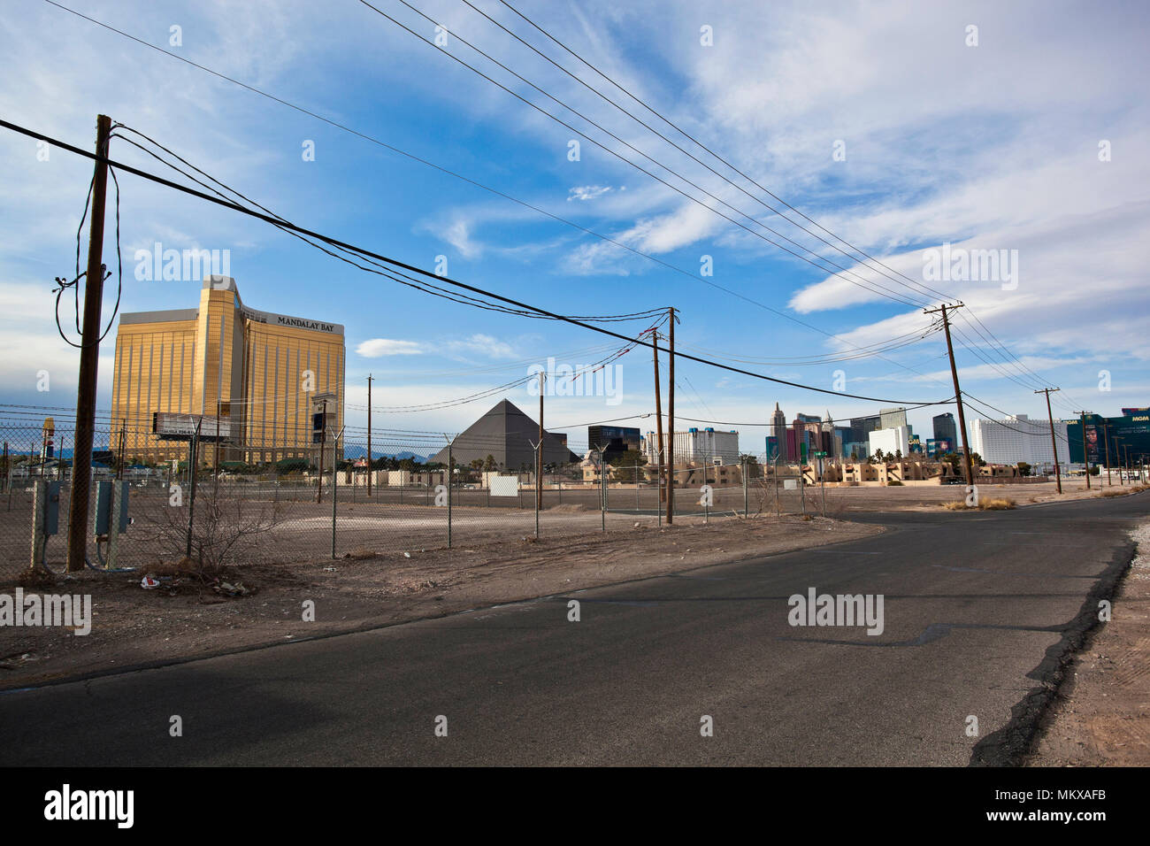 'The Strip' in Las Vegas as seen from a less glamorous part of town - Stock Image