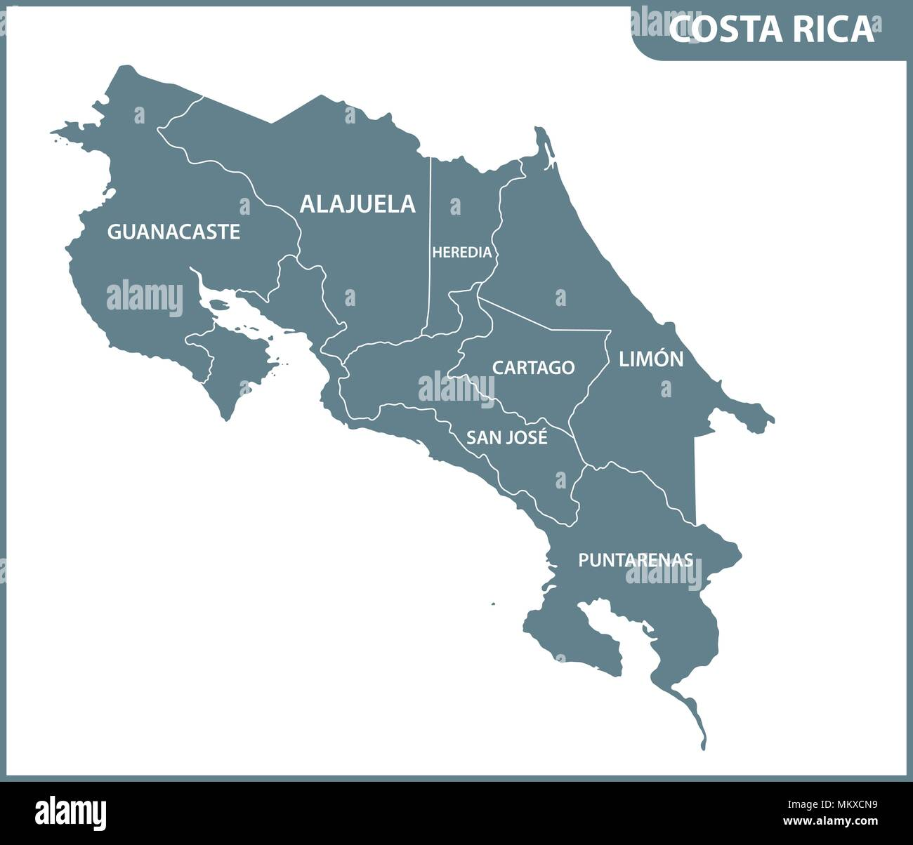 The detailed map of Costa Rica with regions or states ...