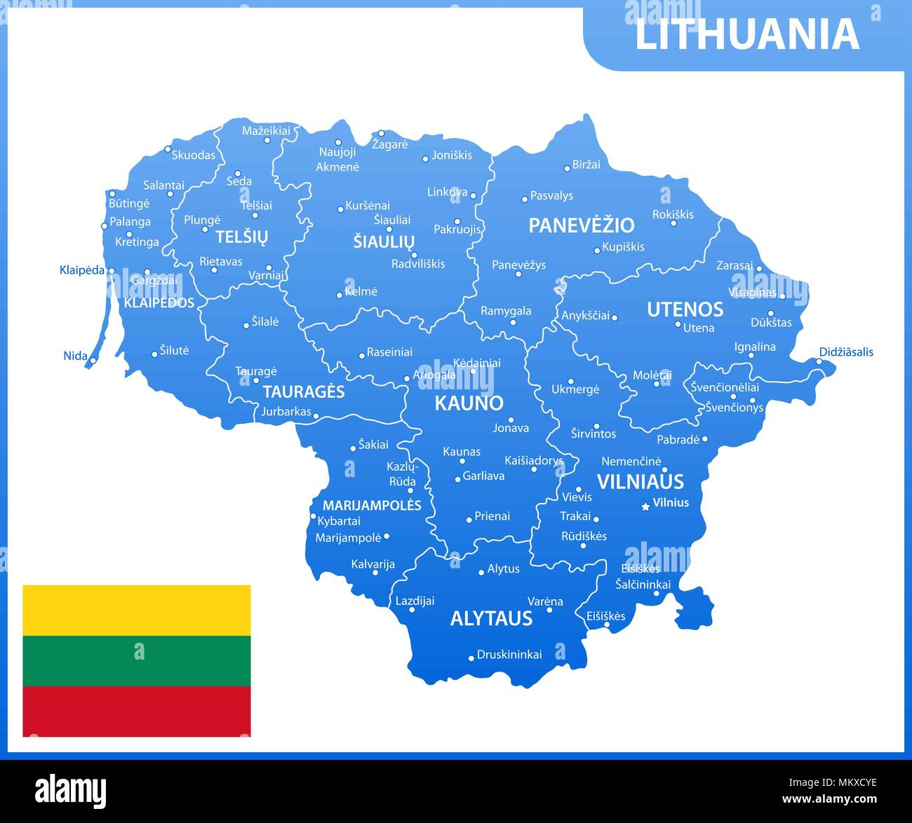 The detailed map of Lithuania with regions or states and cities, capital. Administrative division - Stock Image