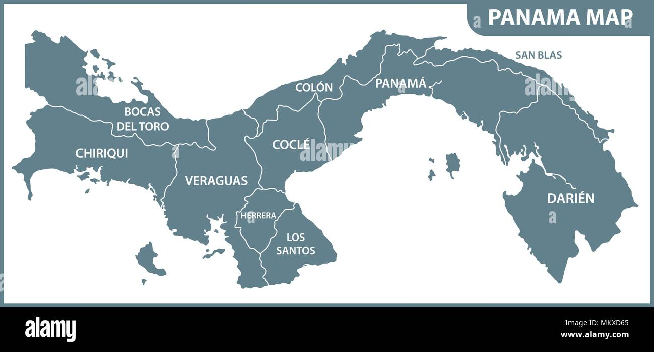 The detailed map of Panama with regions or states. Administrative division - Stock Image