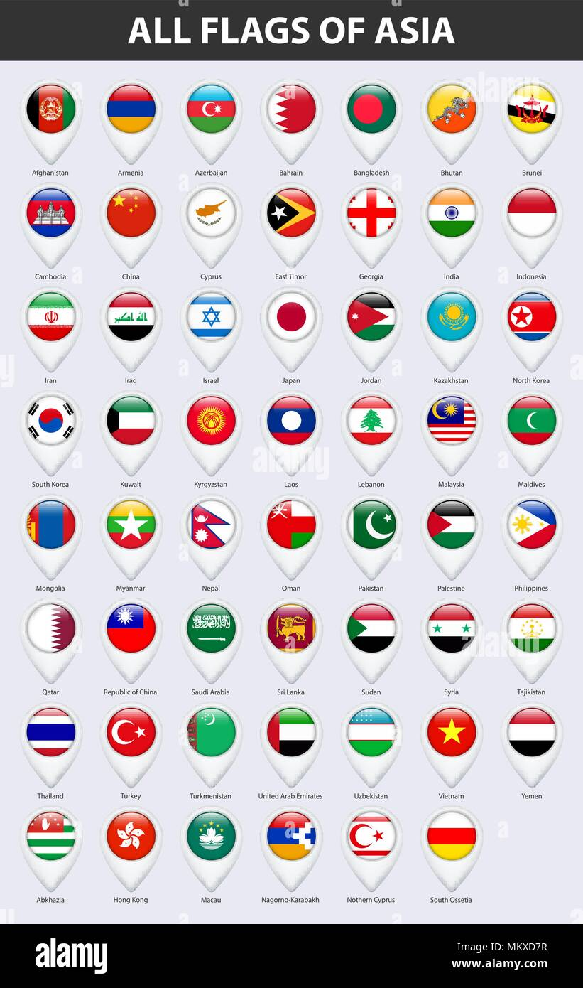 All flags of the countries of Asia. Pin map pointer glossy style. - Stock Vector