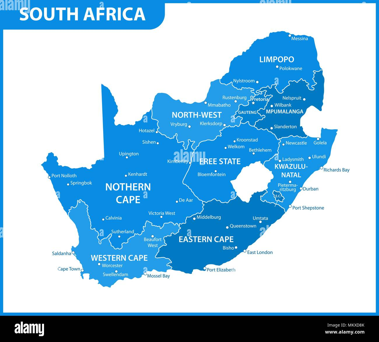 Map South Africa States The detailed map of South Africa with regions or states and cities