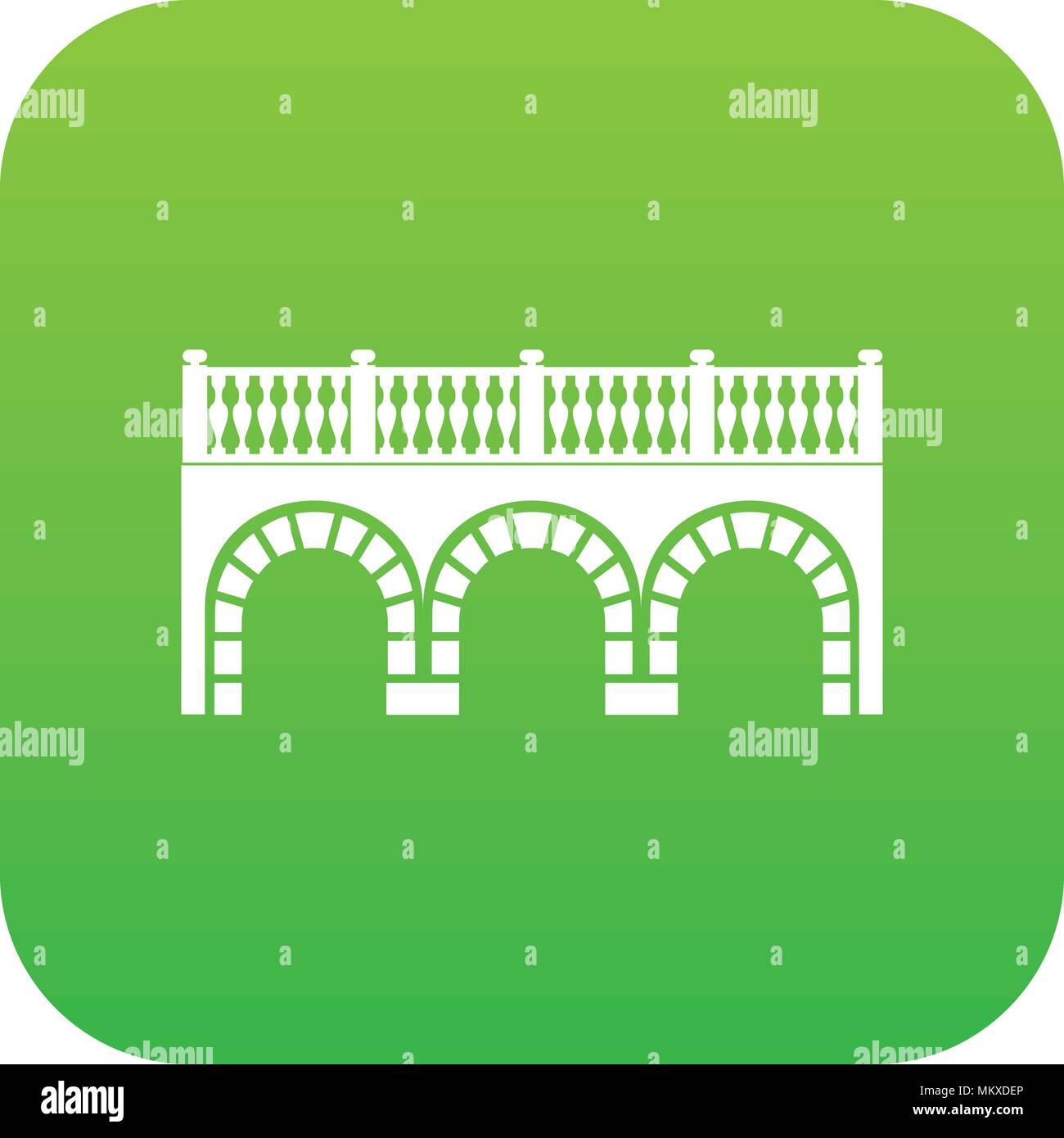 Arch bridge icon green vector - Stock Image