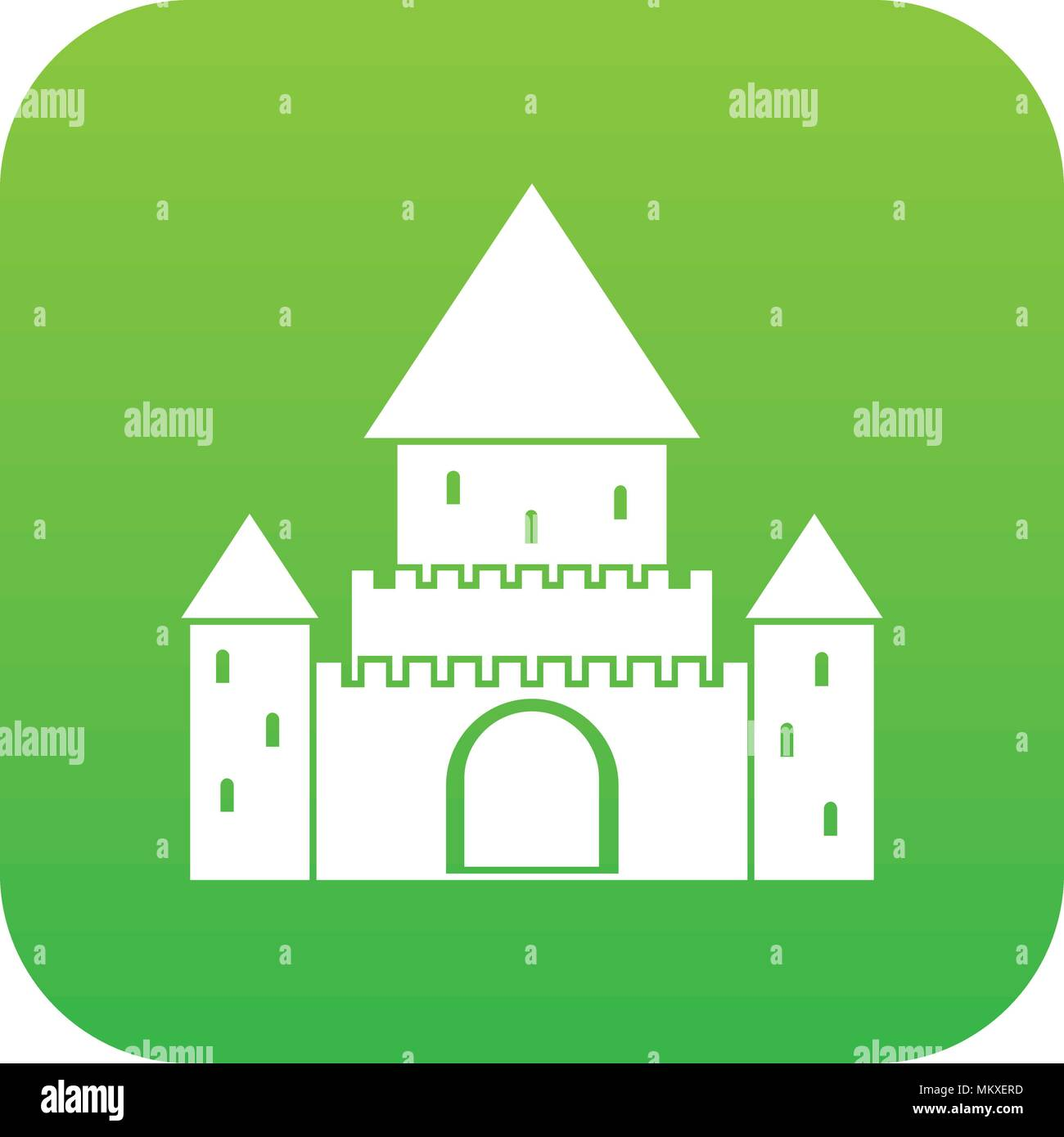 Chillon Castle, Switzerland icon digital green - Stock Vector