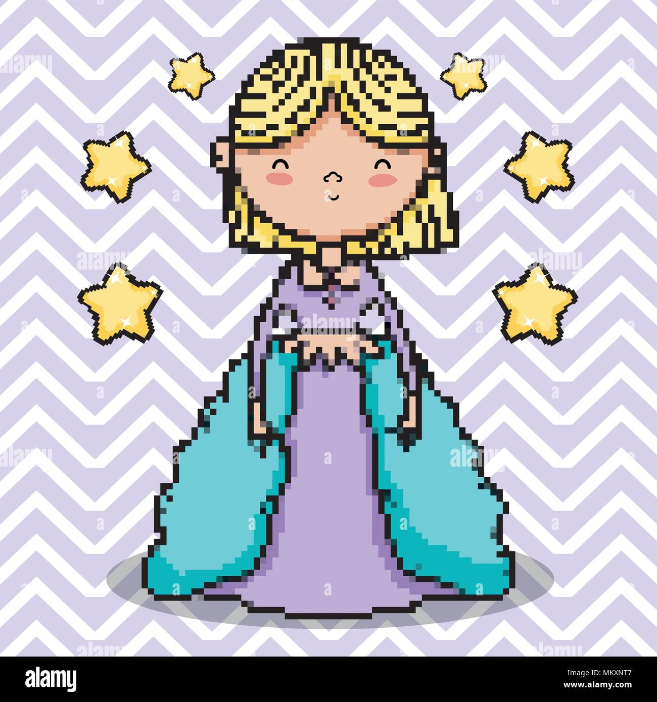 Cute Princess Pixel Art Stock Vector Art Illustration
