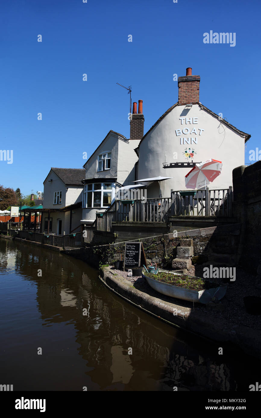 The Boat Inn pub bar and restaurant on the Shropshire Union Canal in Gnosall, Staffordshire.  United Kingdom.  8th May 2018 - Stock Image