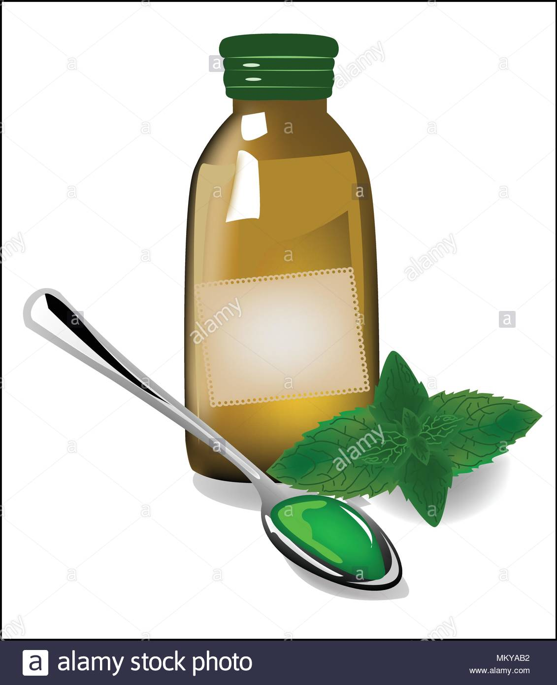 Therapy mint syrup in a bottle - Stock Image