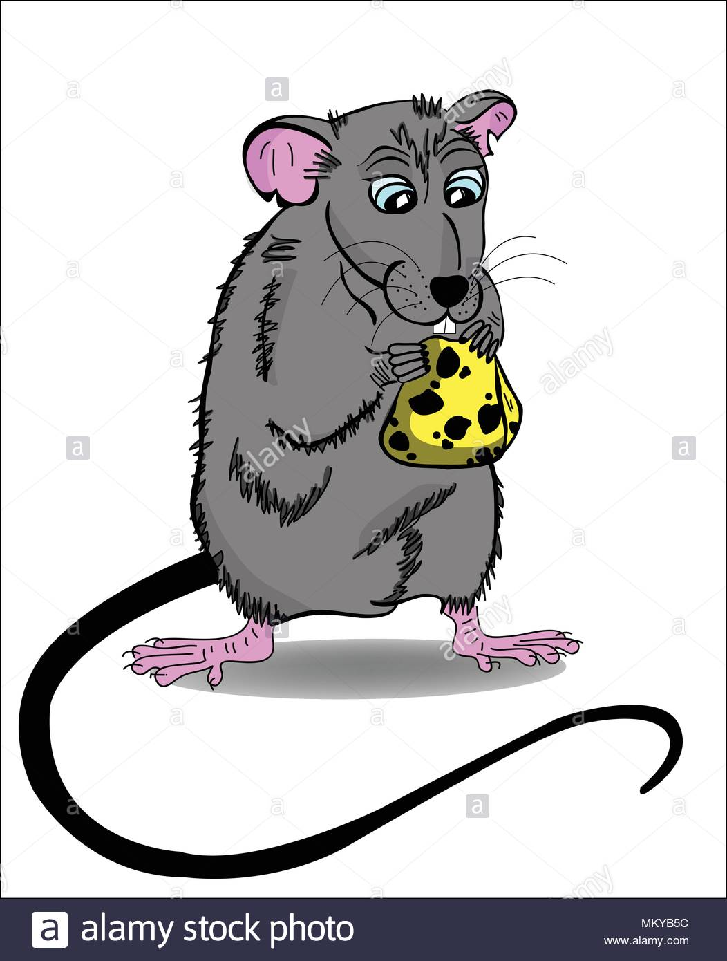 Mouse and cheese cartoon vector illustration  - Stock Vector