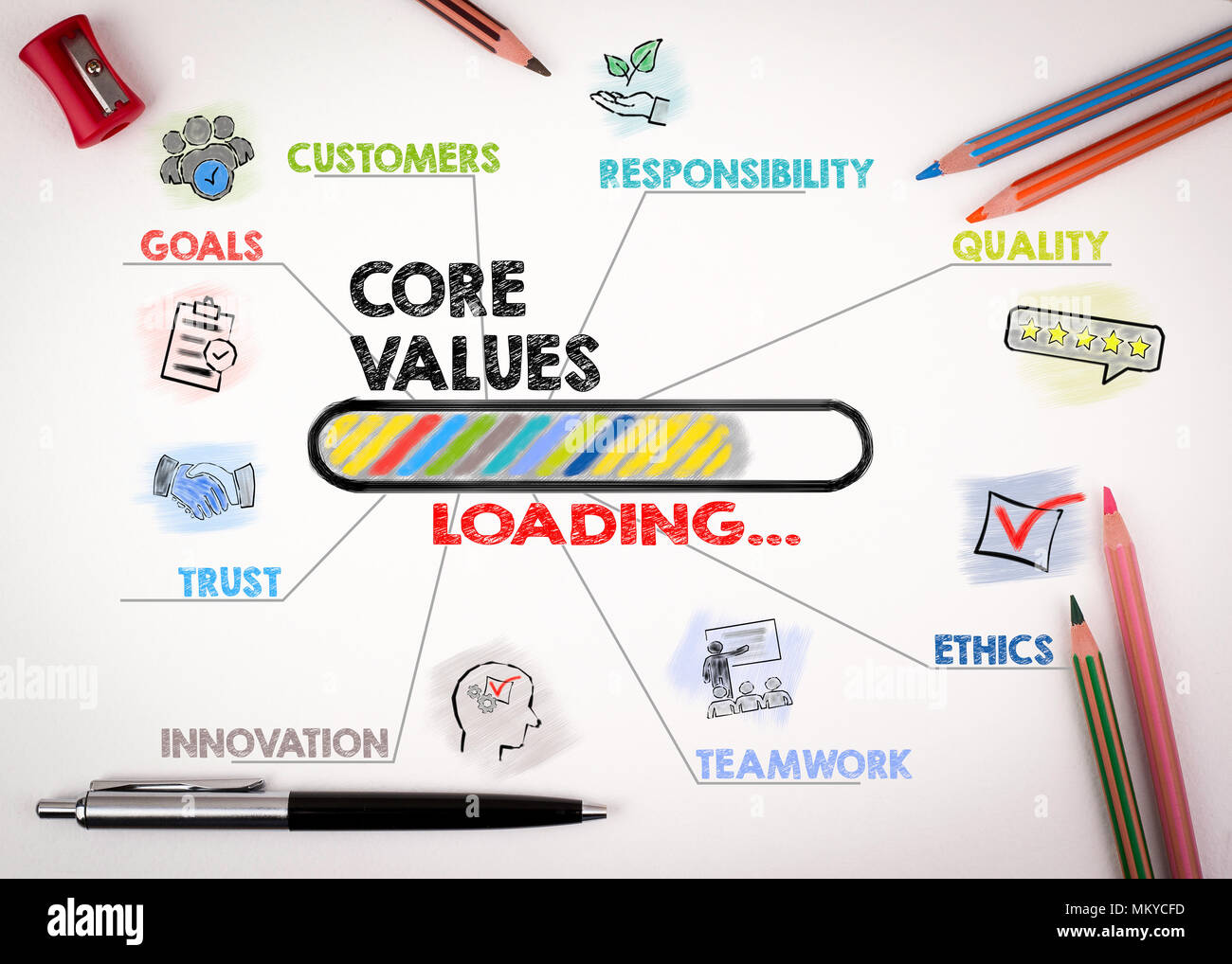 Core Values Concept. Chart with keywords and icons - Stock Image