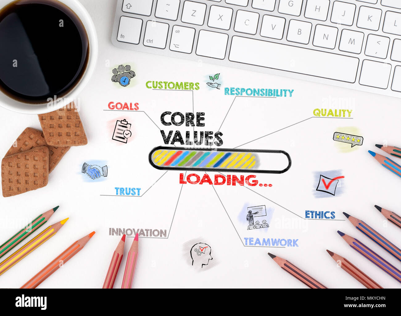 Core Values, Business concept. Chart with keywords and icons - Stock Image