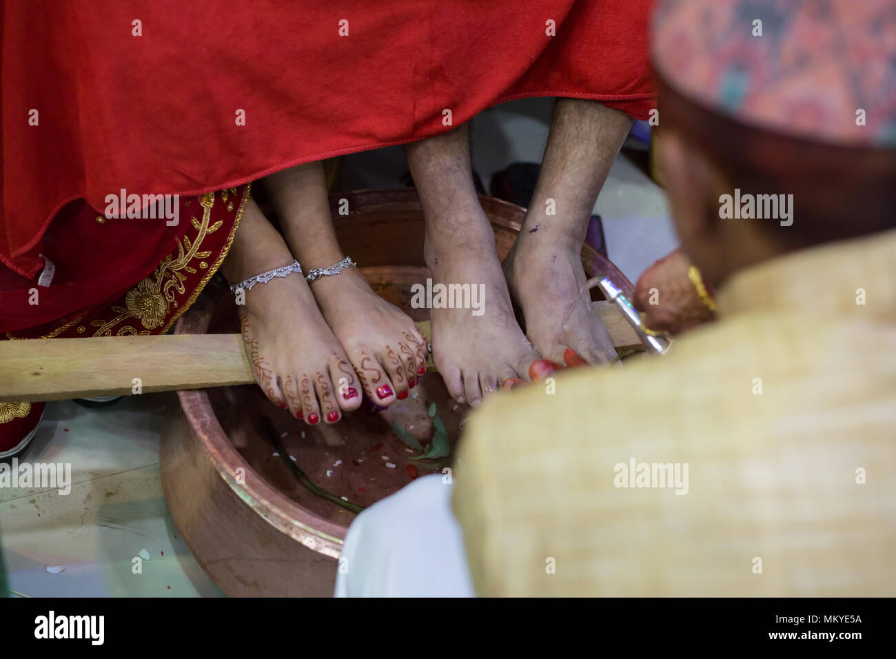 Nepalese Bride and Groom Performing Hindu Wedding Rituals  at Marriage Ceremony in Kathmandu,Nepal. - Stock Image