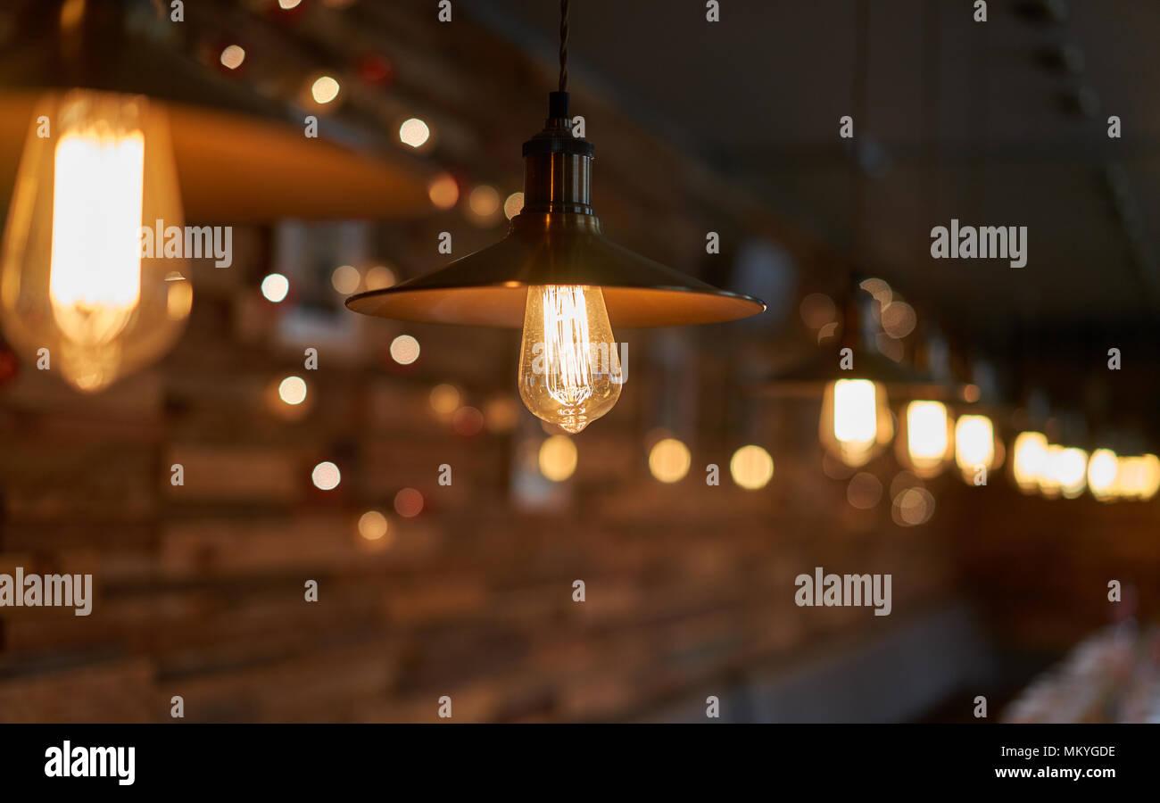 Beautiful Light Bulbs In A Dark Interior