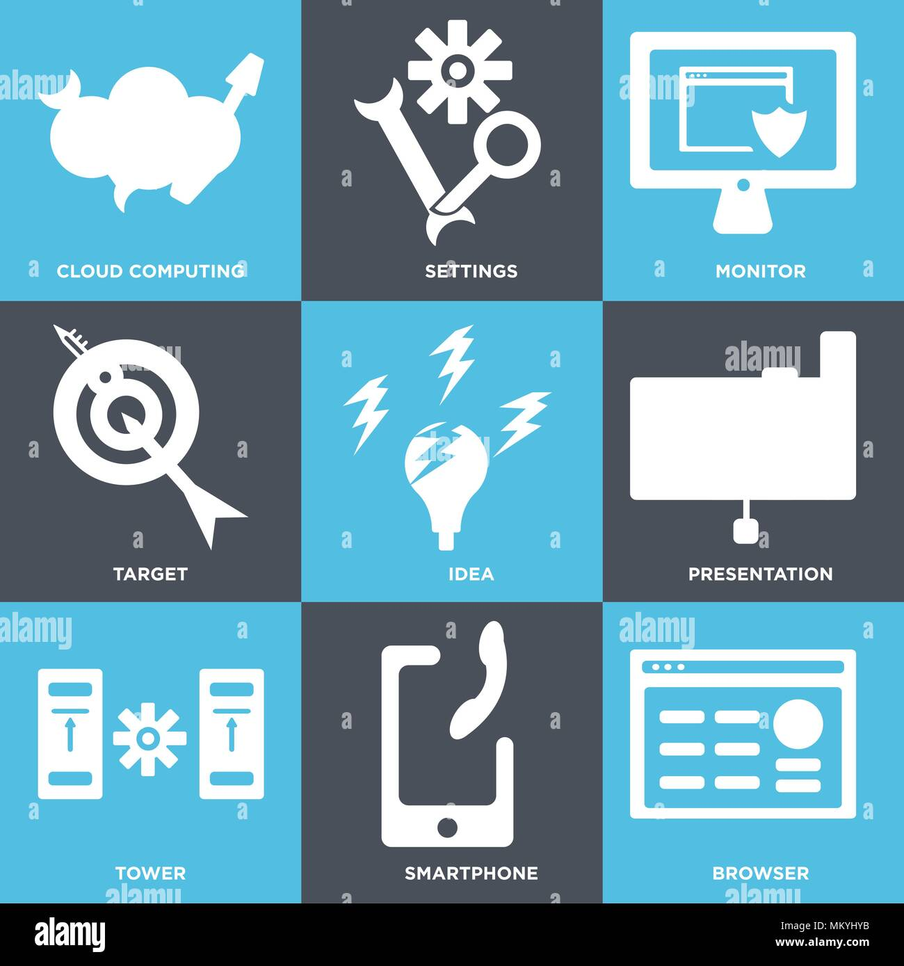 Set Of 9 simple editable icons such as Browser, Smartphone, Tower, Presentation, Idea, Target, Monitor, Settings, Cloud computing, can be used for mob Stock Vector