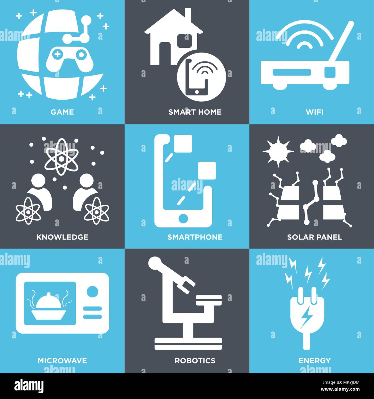 Set Of 9 simple editable icons such as Energy, Robotics