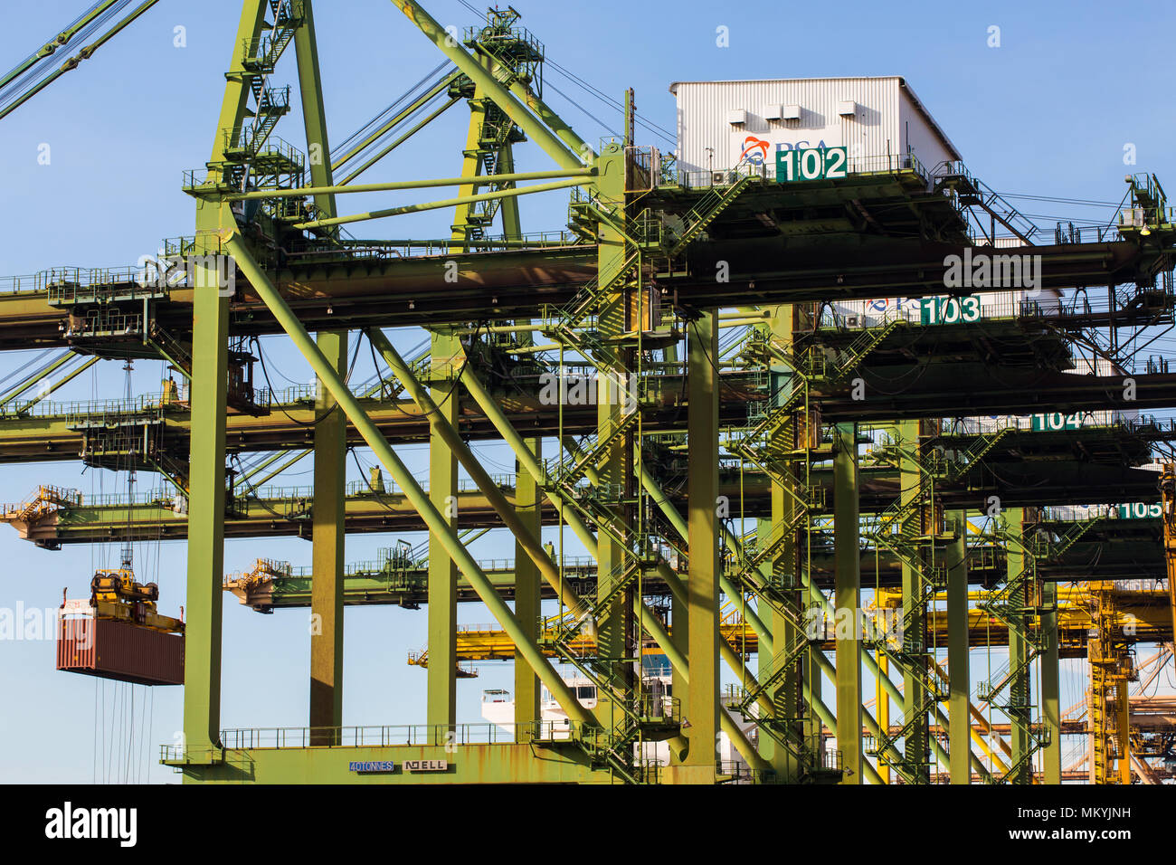 Close up view of the container cranes in lifting process - Stock Image