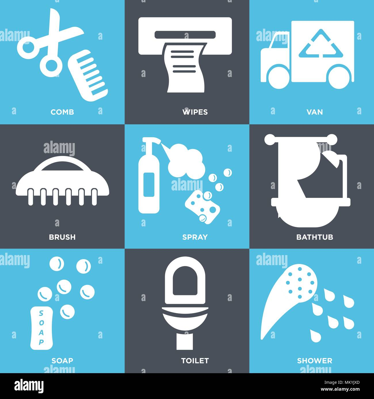 Set Of 9 simple editable icons such as Shower, Toilet, Soap, Bathtub ...
