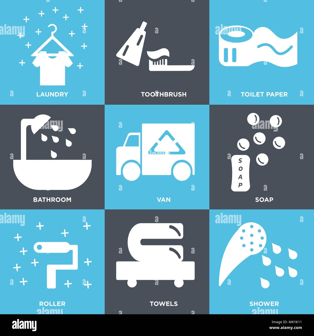 Set Of 9 simple editable icons such as Shower, Towels, Roller, Soap ...
