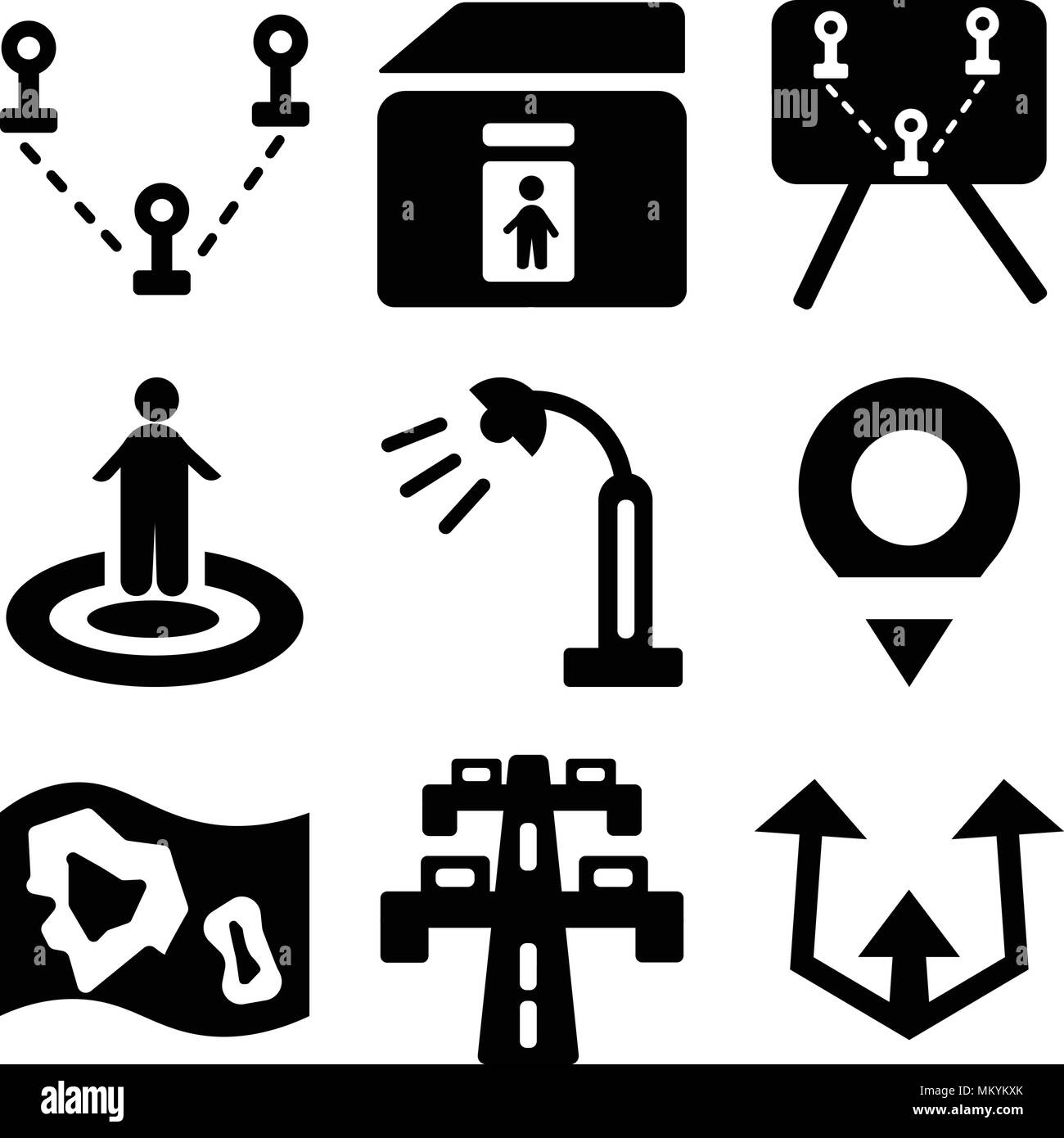 Set Of 9 Simple Editable Icons Such As Turn Highway Map