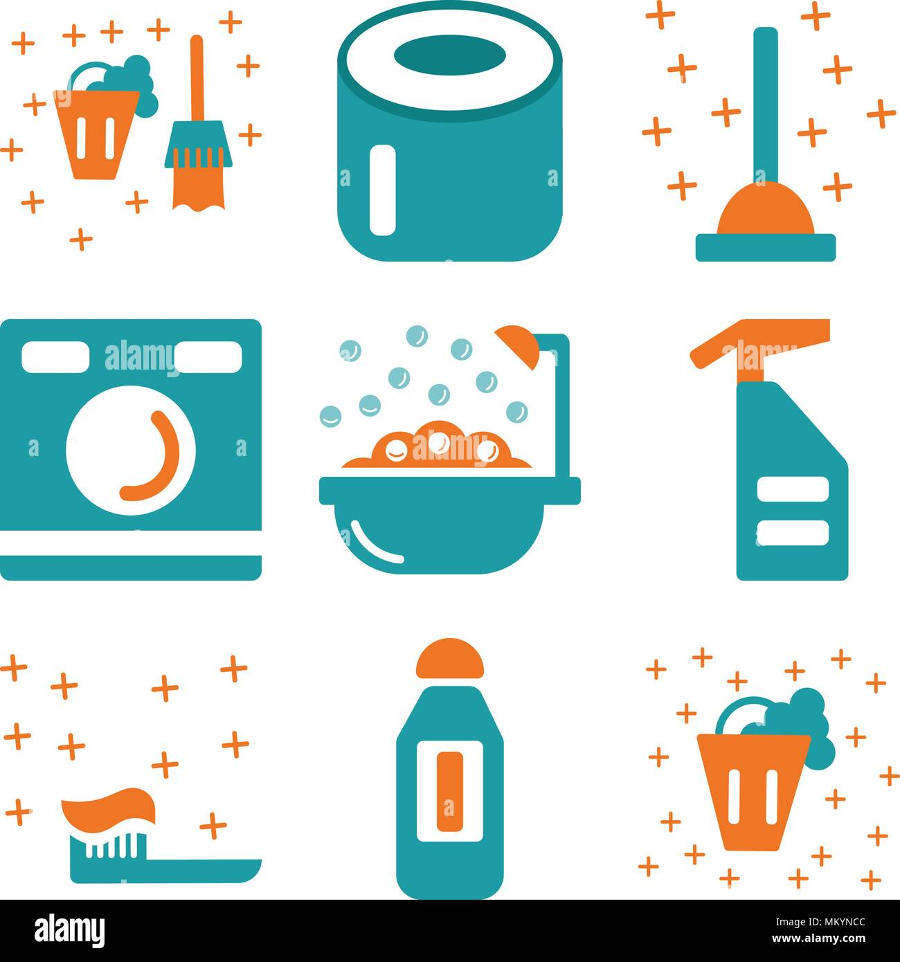 Set Of 9 Simple Editable Icons Such As Bucket, Bleach, Toothbrush, Spray,  Bathtub, Washing Machine, Plunger, Toilet Paper, Can Be Used For Mobile, Web