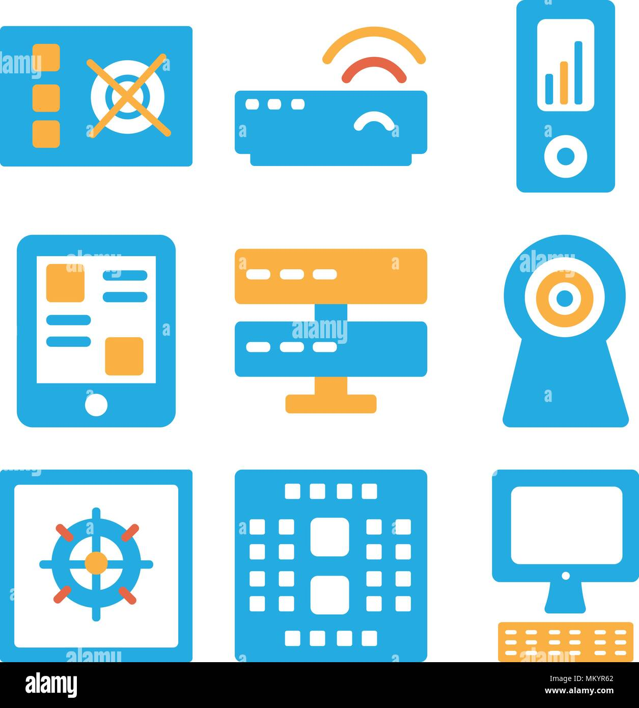 Set Of 9 simple editable icons such as Computer, Cpu, Cooler, Webcam, Server, Smartphone, Ipod, Modem, Power, can be used for mobile, web Stock Vector