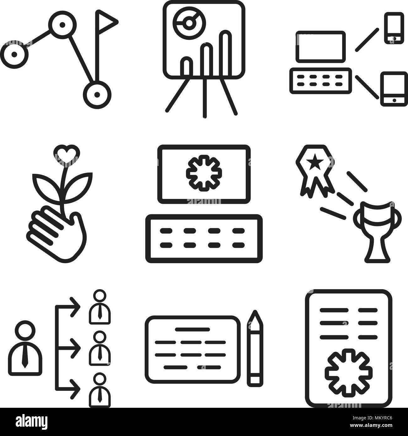 Set Of 9 simple editable icons such as Policy, Agreement, Teamwork, Trophy, Coding, Growth, Responsive, Presentation, Path, can be used for mobile, we Stock Vector