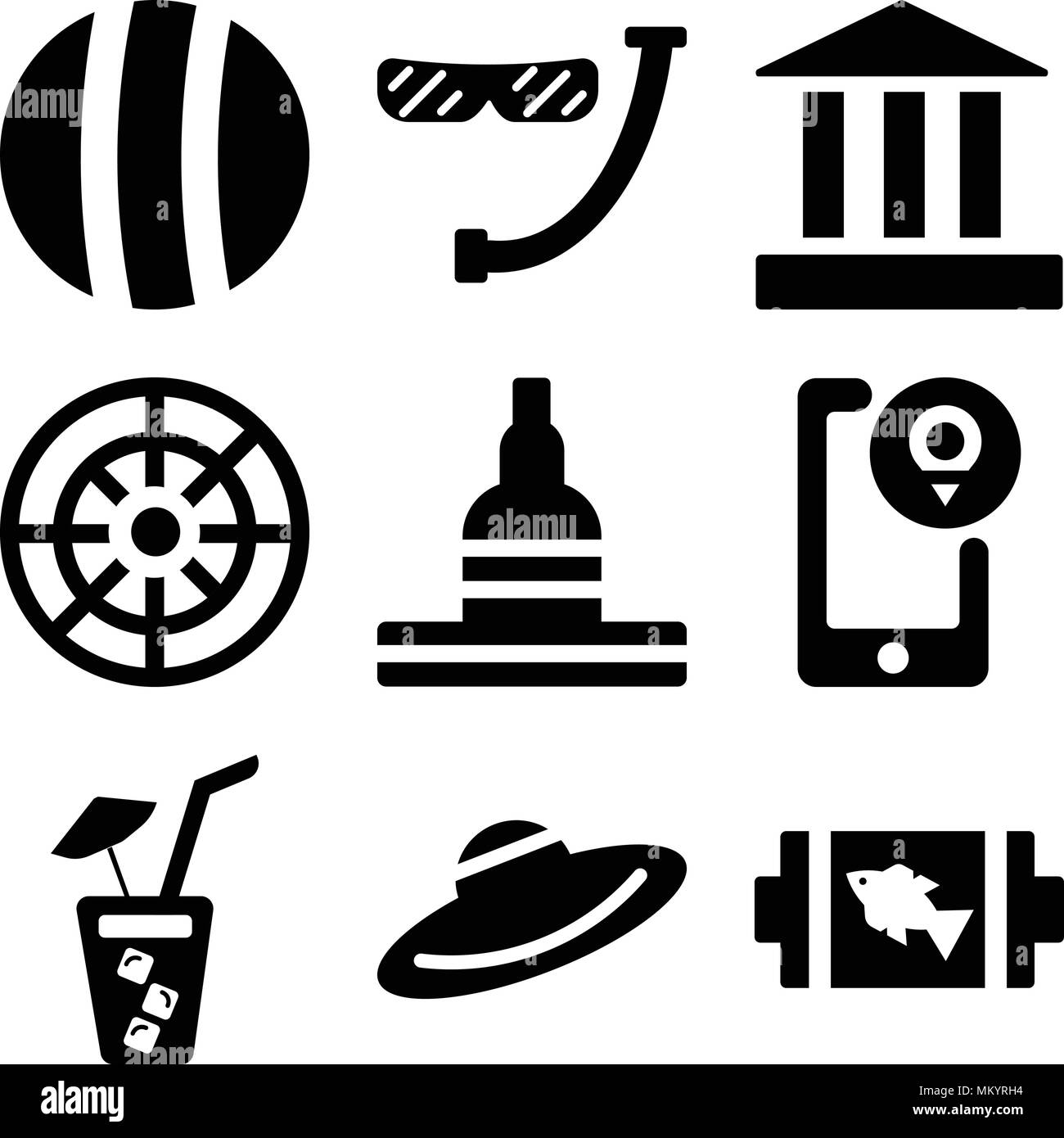 Set Of 9 simple editable icons such as Fish On Barbecue, Straw Hat, Soda with Straw, Location, Great buddha of thailand, Helm, Parthenon, Diver Snorke Stock Vector