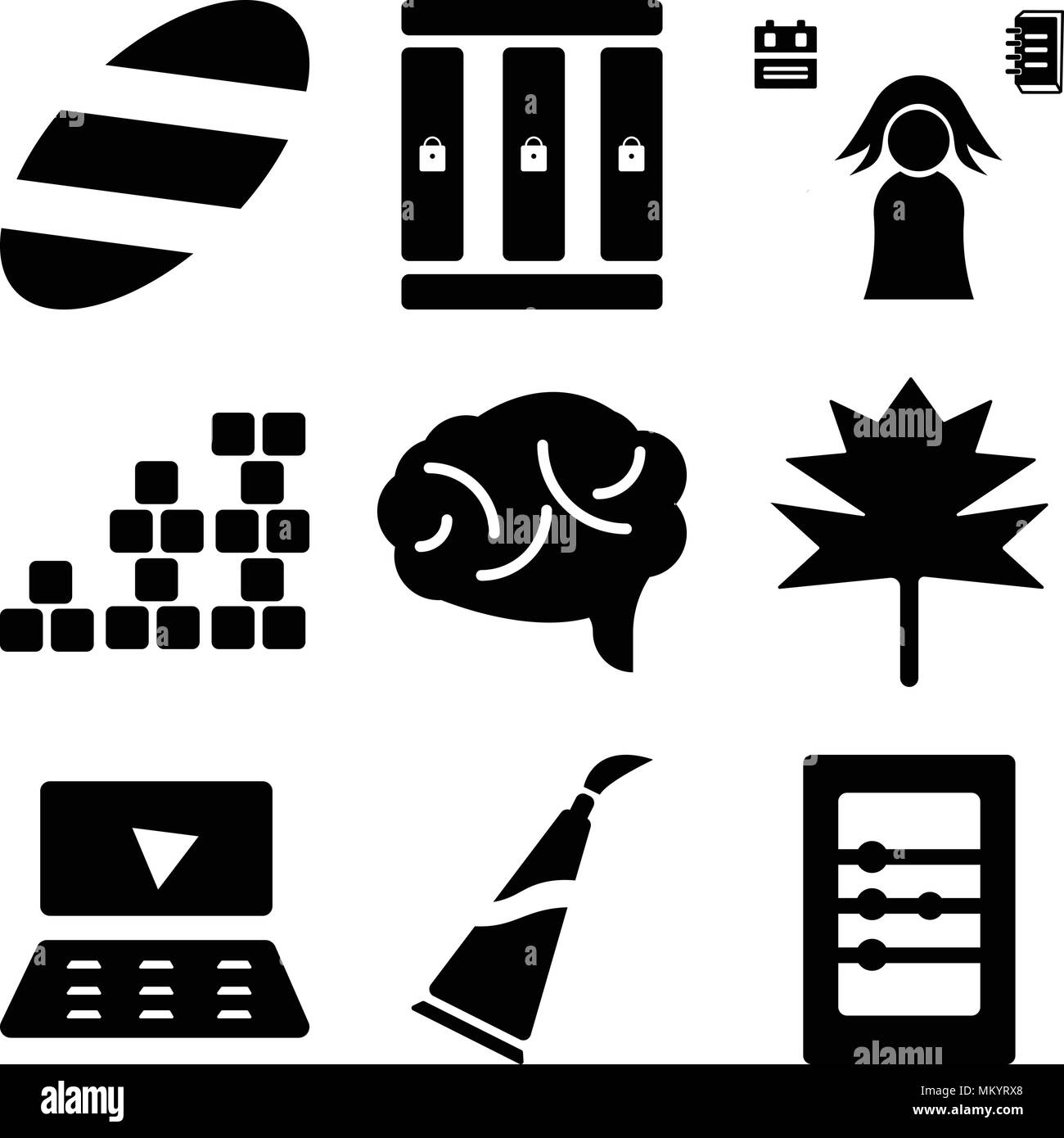 Set Of 9 Simple Editable Icons Such As Abacus Paint Tube Laptop