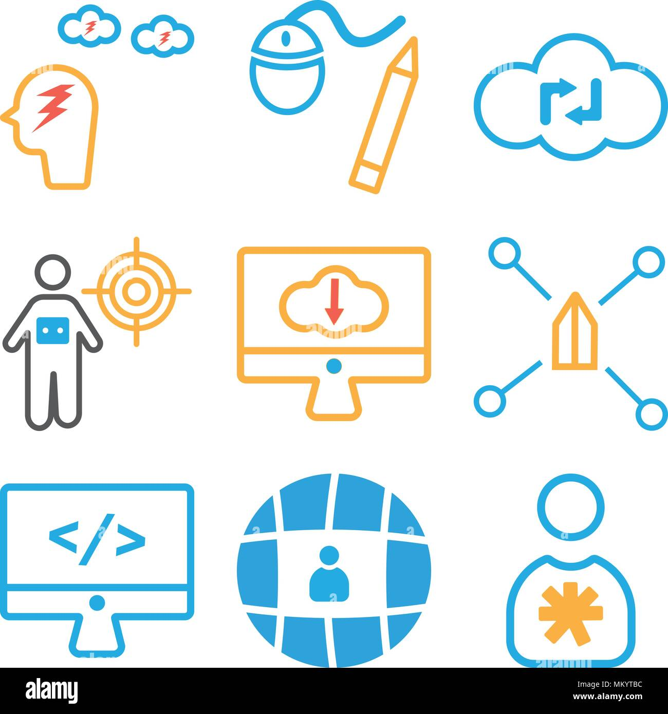 Set Of 9 simple editable icons such as User, Network, Monitor, Team, Cloud computing, Graphic tool, Brainstorming, can be used for mobile, web Stock Vector