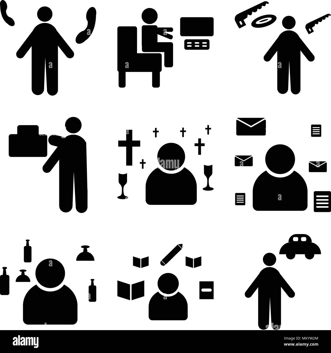 Set Of 9 simple editable icons such as Chauffeur, Writer, Waiter, Postman, Priest, mover, carpenter, Programmer, Receptionist, can be used for mobile, Stock Vector