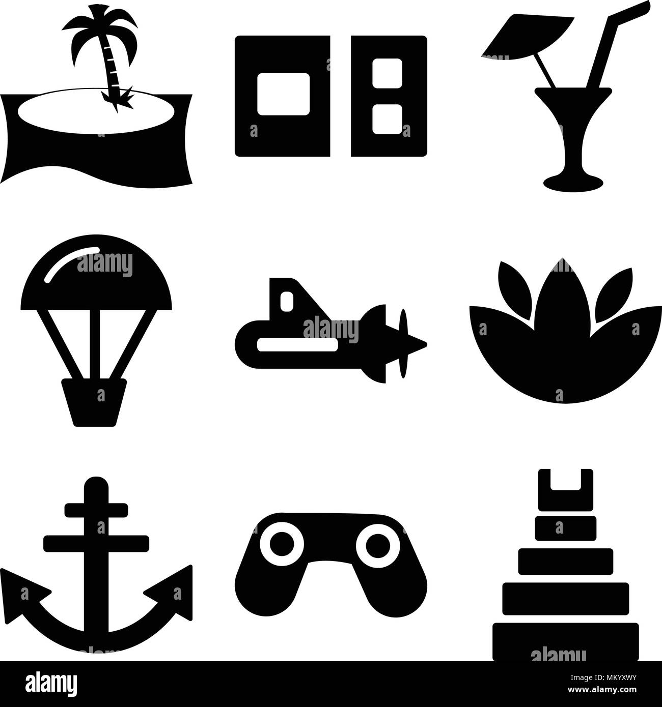 Set Of 9 simple editable icons such as Teotihuacan, Big Binocoulars, Anchor, Flower, Submarine with Propeller, Hot air balloon, Limonade Drop, Postcar Stock Vector