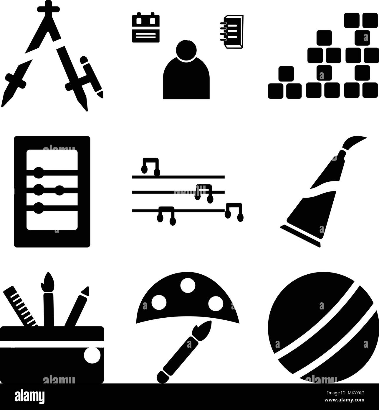 Set Of 9 simple editable icons such as Basketball, Watercolor, Backpack, Paint tube, Flute, Abacus, Periodic table, Student, Compass, can be used for  Stock Vector