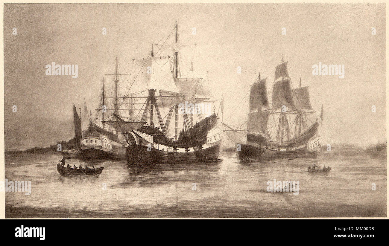 Arrival of Winthrop Colony. Boston.  1629 - Stock Image