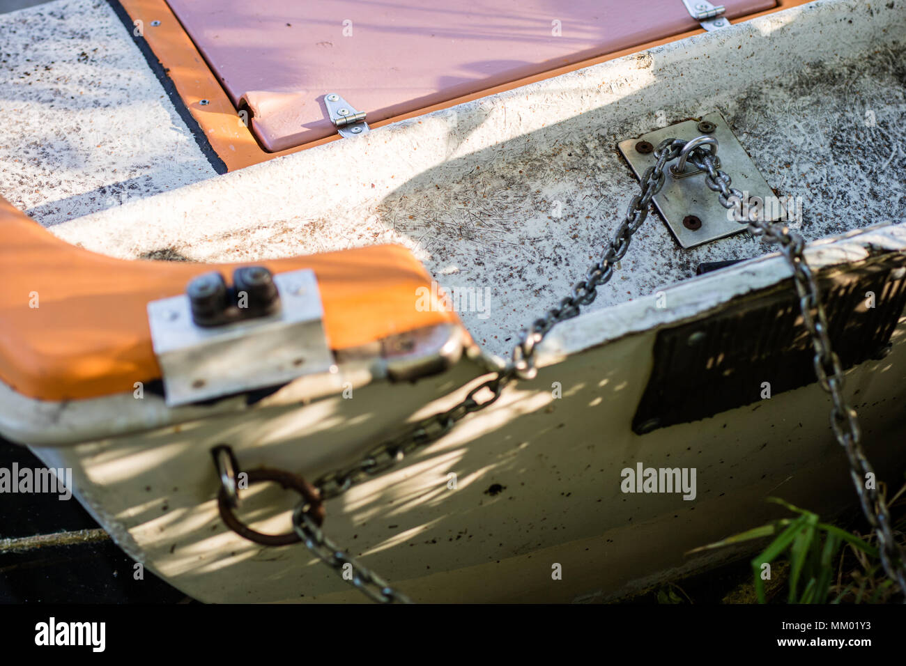 Capstan on a small sailing boat. Equipment for a sailing boat floating in inland waters. Season of the spring. - Stock Image