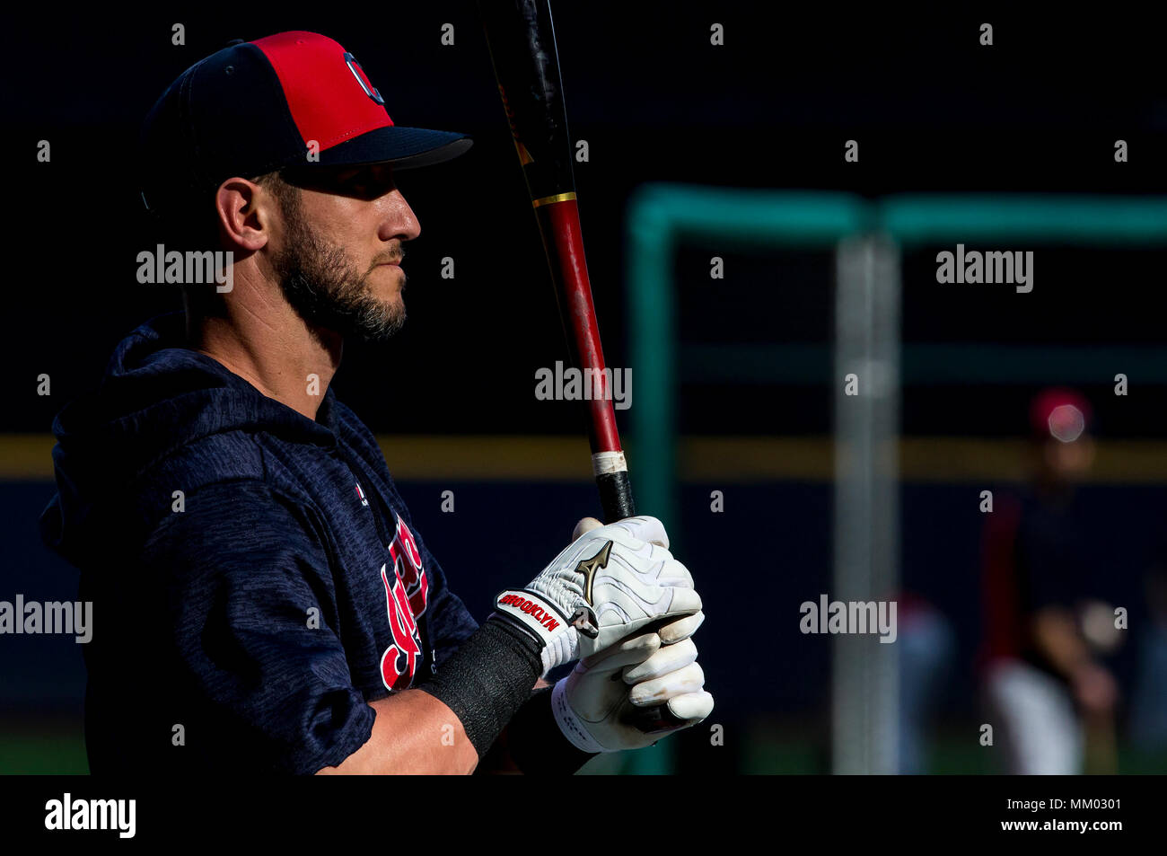 Milwaukee, WI, USA. 8th May, 2018. Cleveland Indians catcher Yan Gomes #7 takes batting practice as the sun shines through the stadiums windows before the Major League Baseball game between the Milwaukee Brewers and the Cleveland Indians at Miller Park in Milwaukee, WI. John Fisher/CSM/Alamy Live News - Stock Image