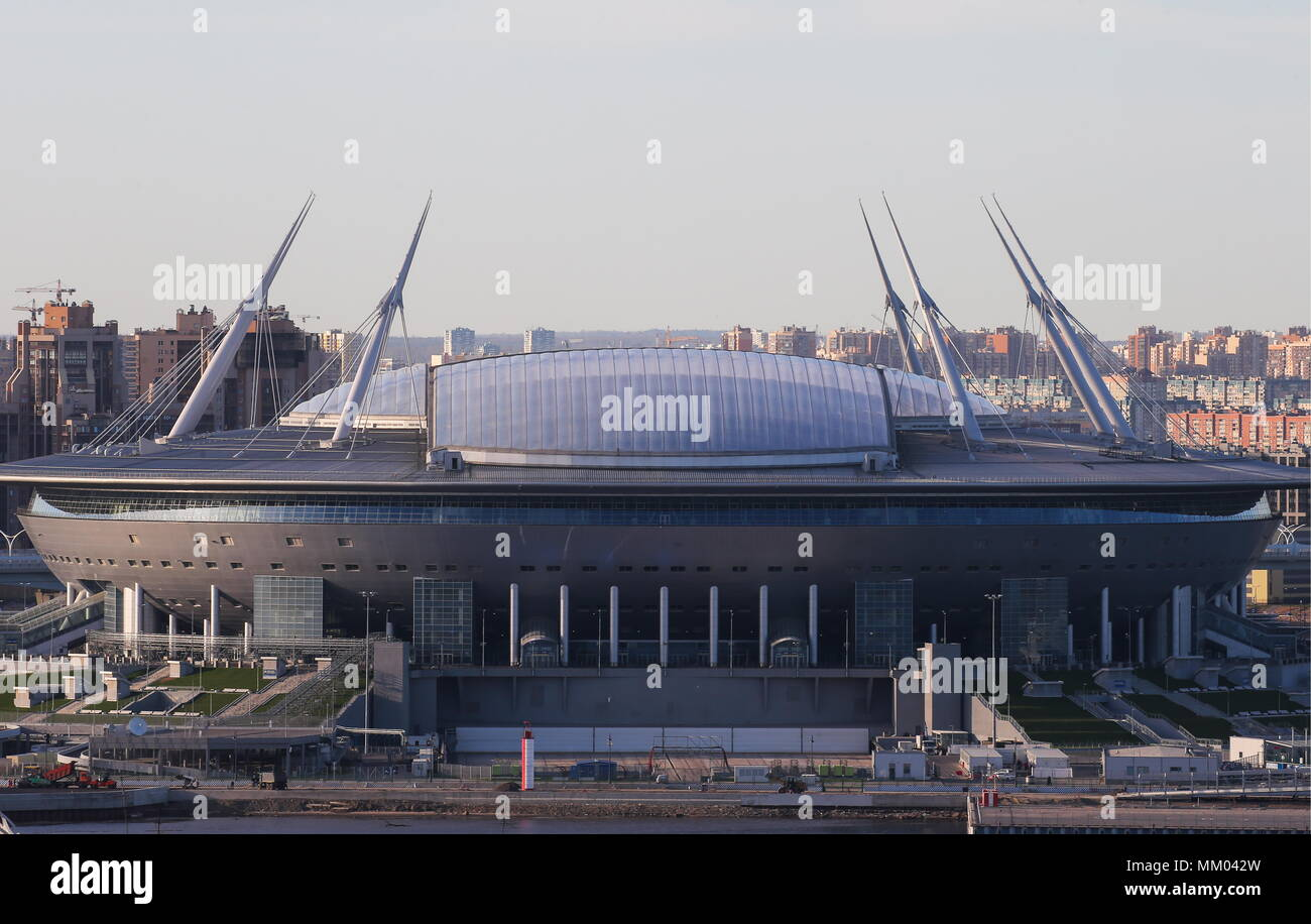 St Petersburg, Russia. 08th May, 2018. ST PETERSBURG, RUSSIA - MAY 8, 2018: Sankt-Peterburg Arena (Saint Petersburg Stadium), one of the venues of the upcoming FIFA World Cup Russia 2018. Peter Kovalev/TASS Credit: ITAR-TASS News Agency/Alamy Live News - Stock Image