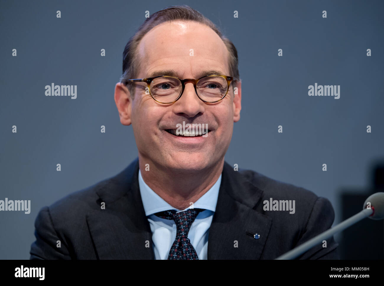 09 May 2018, Germany, Munich: CEO of the insurance company Allianz SE, Oliver Baete, sitting onstage before the begin of the annual general meeting of the insurance company Allianz. Photo: Sven Hoppe/dpa Stock Photo