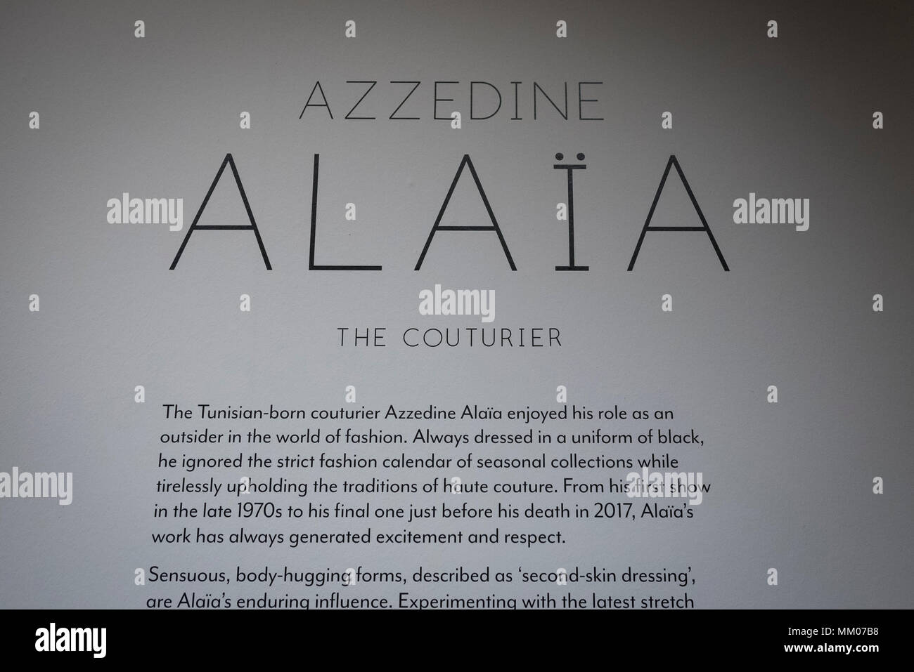 London, UK.  9 May 2018.  Preview of 'Azzedine Alaïa:  The Couturier', the first UK exhibition of Azzedine Alaïa examining the work of one of the most respected fashion designers in history.  Over 60 rare and iconic garments are on display alongside a series of specially commissioned pieces.  The exhibition runs 10 May to 7 October 2018 at the Design Museum.   Credit: Stephen Chung / Alamy Live News - Stock Image