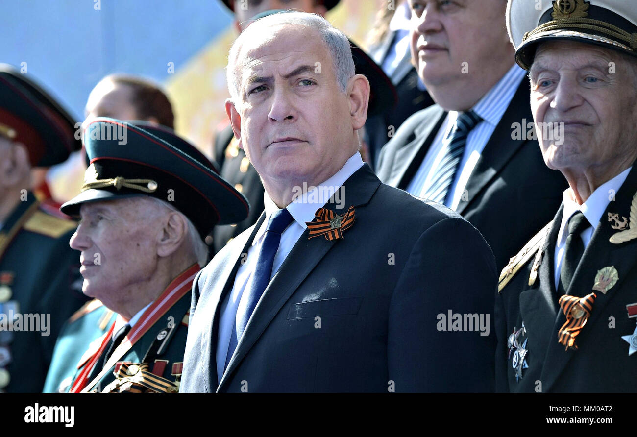 Israeli President Benjamin Netanyahu views the military parade marking the 73rd anniversary of the end of World War II in Red Square May 9, 2018 in Moscow, Russia.  Netanyahu and Serbian President Aleksandar Vucic were the guests of honor for this years events.  (Russian Presidency via Planetpix) Stock Photo