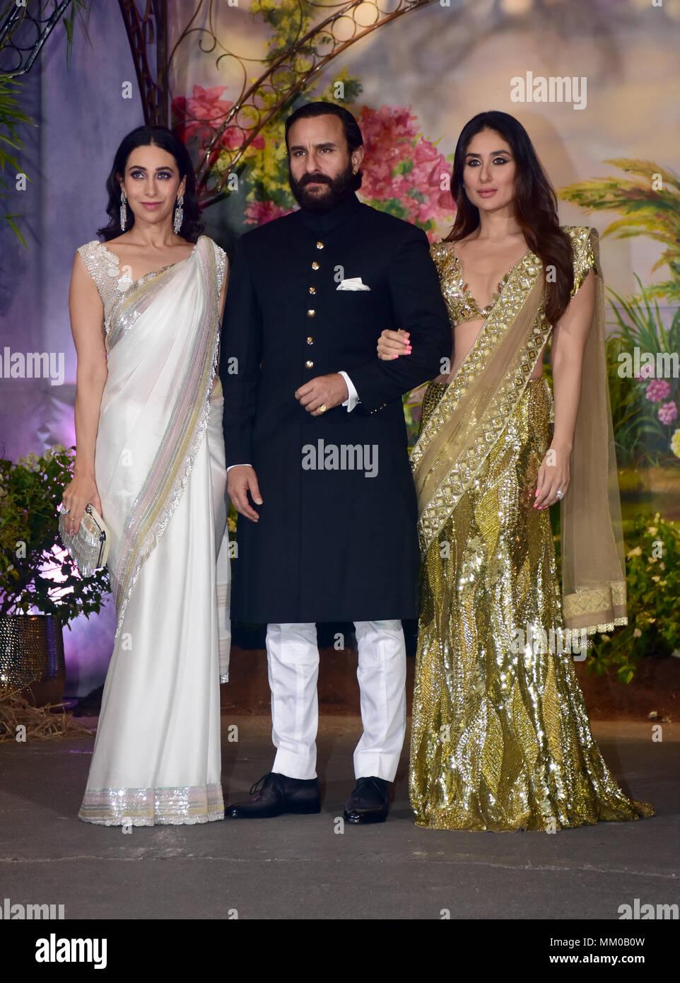 Indian Film Actress Karisma Kapoor With Saif Ali Khan And Kareena