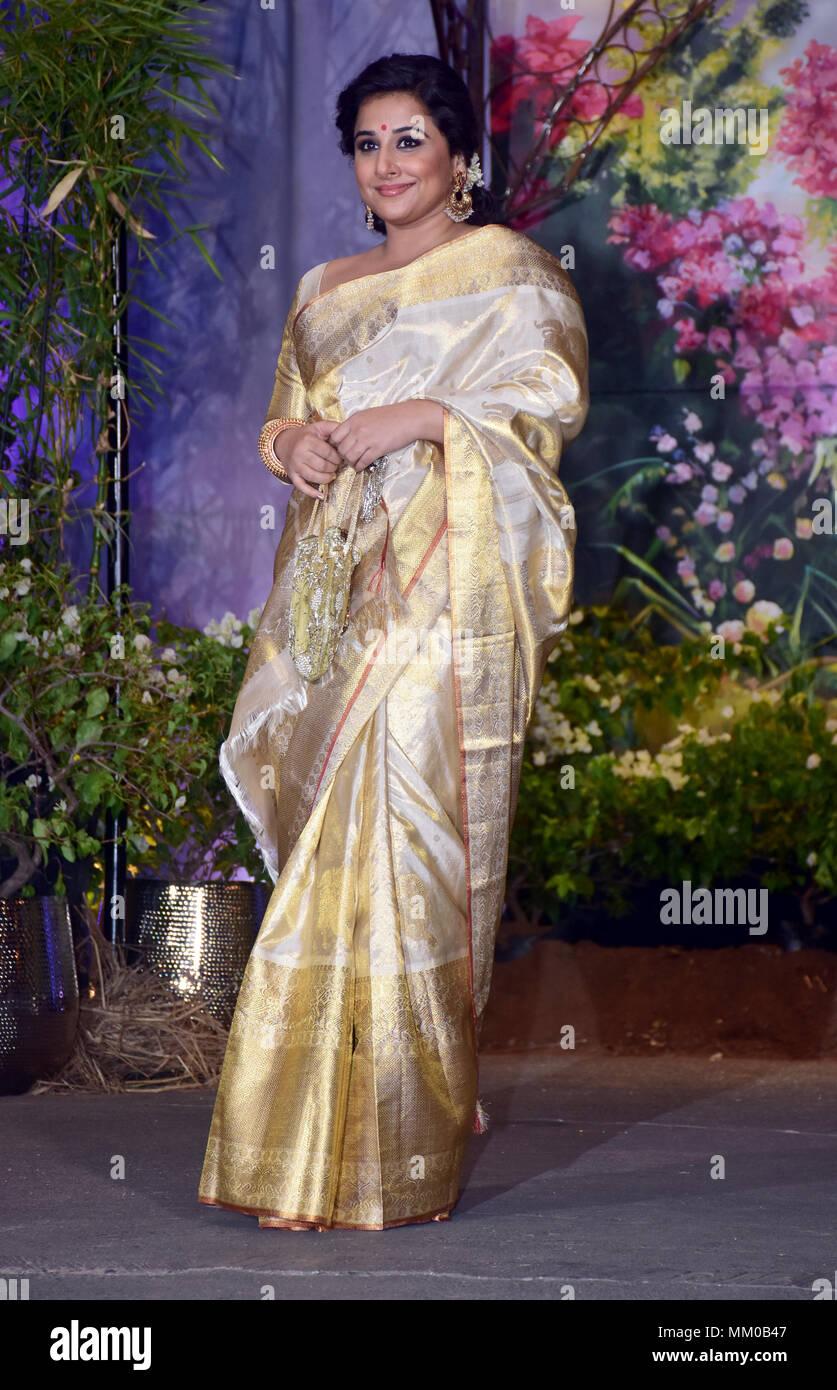 Indian Film Actress Vidya Balan Attend The Wedding Reception Of